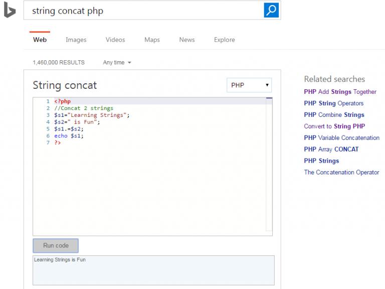 نتایج جستجوی کد در بینگ