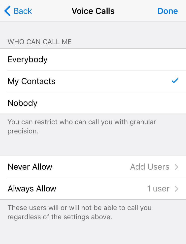 telegram voice calls controls block-allow-off